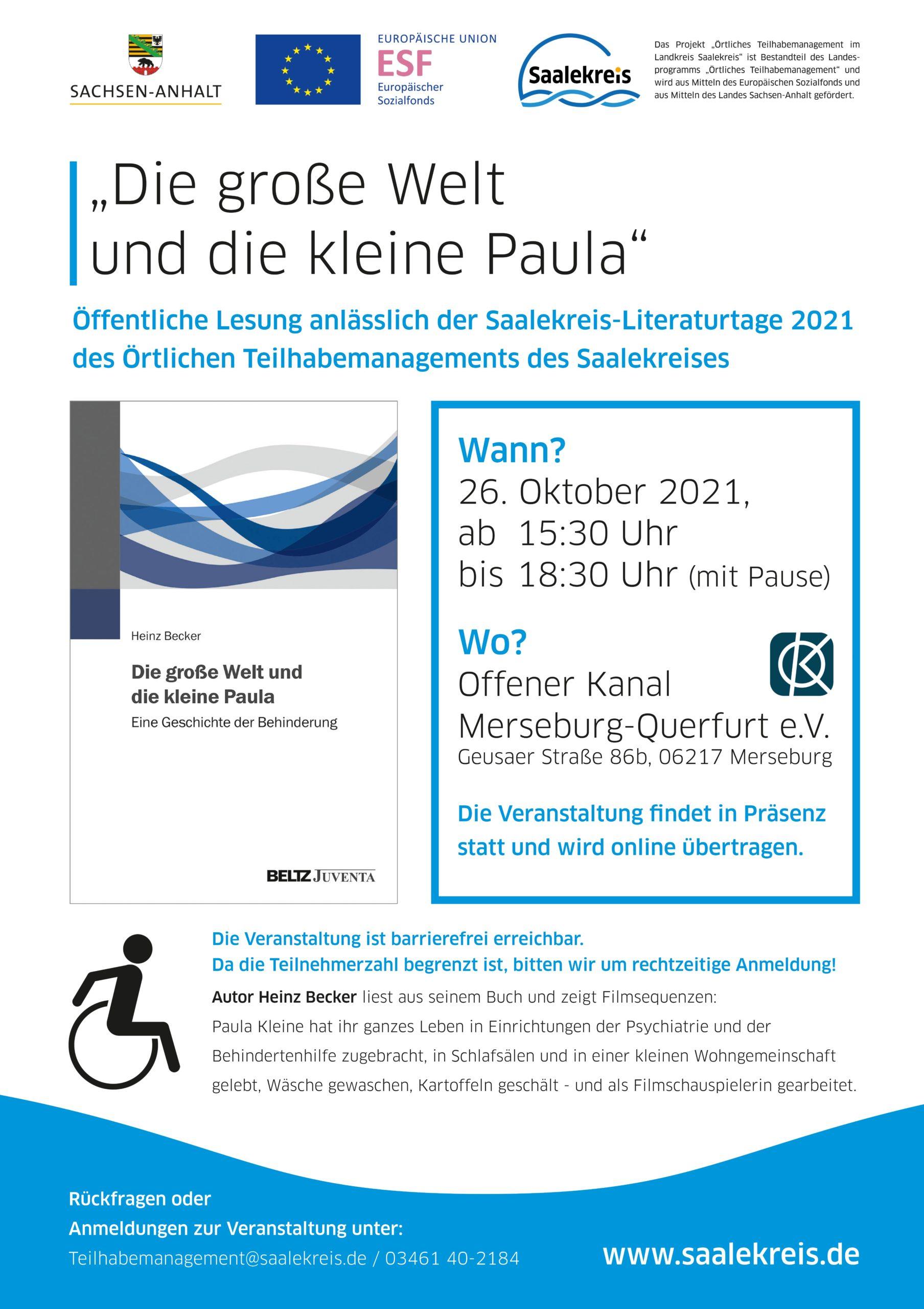 """Einladung zur Buchlesung """"Die große Welt und die kleine Paula"""" mit Heinz Becker"""